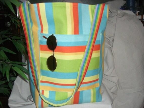 Multi colored striped beach bag