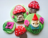 Button Gnome and Home polymer clay button set  ( 5 )