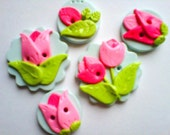 Button Pink Tulips polymer clay button set  ( 5 )