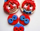 Button Raggedy handmade polymer clay button set. ( 5 )