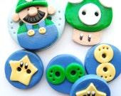 Button Green Luigi Mario Bros handmade polymer clay buttons ( 6 )