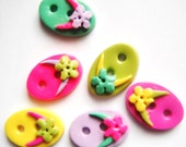 Button Teeny Flip Flops handmade polymer clay buttons ( 6 )