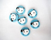 Button Counting Sheep handmade polymer clay buttons ( 6 )