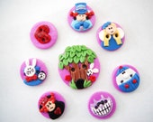 Buttons Alice in Wonderland handmade polymer clay buttons ( 8 )