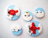 Button Airplanes and Clouds hand made polymer clay buttons ( 5 )