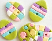 Button Quilted Easter Eggs handmade polymer clay buttons ( 5 )