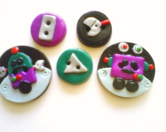 Button Little Robots  polymer clay buttons   ( 5 )