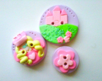 Button Pincess Castle   polymer clay buttons   ( 3 )