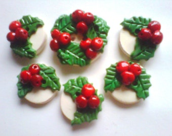 Button Holly handmade polymer clay buttons  ( 6 )