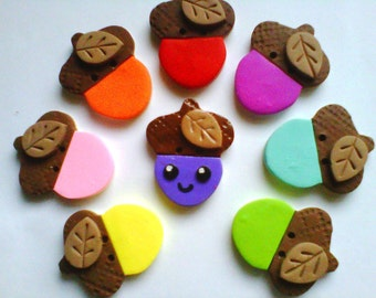 Button Colorful Acorns polymer clay buttons ( 4 )
