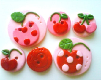 Button Cherries handmade polymer clay buttons ( 6 )