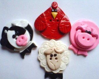 Button Farm Critters polymer clay buttons   ( 4 )