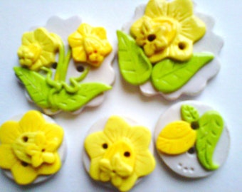 Button Daffodils polymer clay button set  ( 5 )
