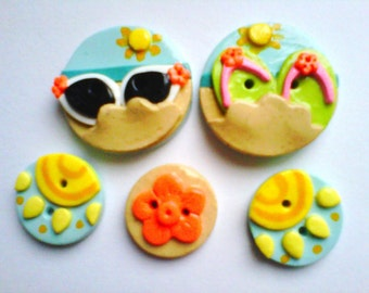 Button Sun and Sand polymer clay button set ( 5 )