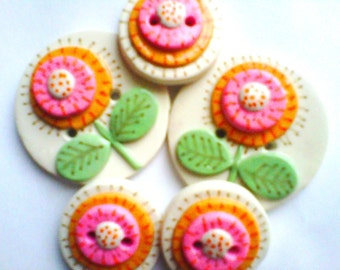 Button Dandelions polymer clay handmade button set   ( 5 )