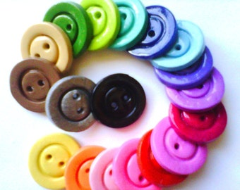 Button  Solid Basics polymer clay round buttons  ( 6 )