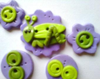 Button Baby Grasshopper handmade polymer clay button set ( 5 )