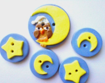 Button Nite Owl handmade polymer clay button set ( 5 )