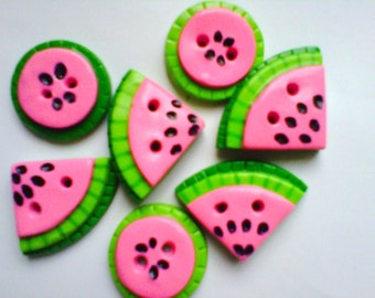 Button Watermelon Slice polymer clay buttons ( 7 )