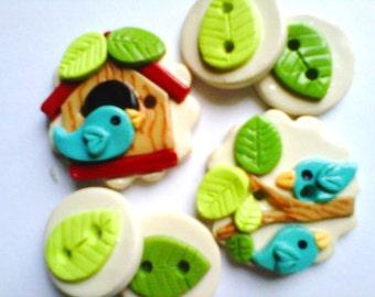 Button Little BirdHouse handmade polymer clay buttons  ( 6 )