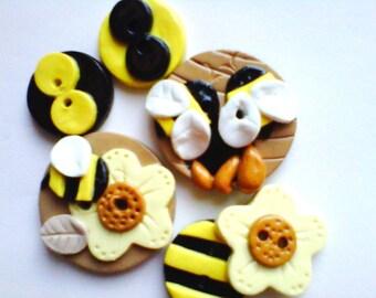 Button HoneyBeeHive handmade polymer clay button set  ( 6 )