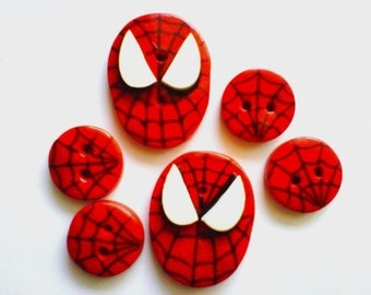 Button Spidey polymer clay buttons  ( 6 )