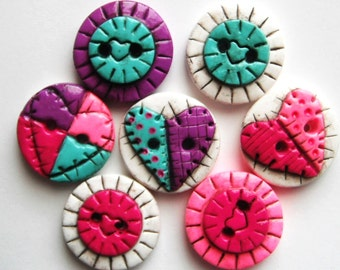 Button Antiqued Patch Hearts polymer clay buttons ( 7 )