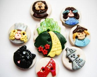 Button Oz handmade polymer clay button set ( 8 )