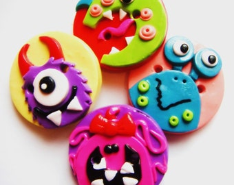 Button Little Monsters handmade polymer clay buttons  ( 4 )