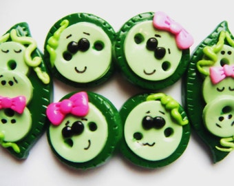 Button Pea Pods polymer clay handmade buttons ( 6 )