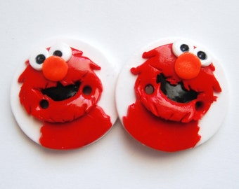 Button Twin Elmos handmade polymer clay buttons ( 2 )