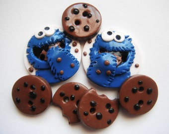 Button Cookies polymer clay buttons ( 7 )