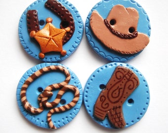 Button Cowboy handmade polymer clay buttons  ( 4 )