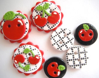 Button Black Cherry Check handmade polymer clay button set  ( 7 )