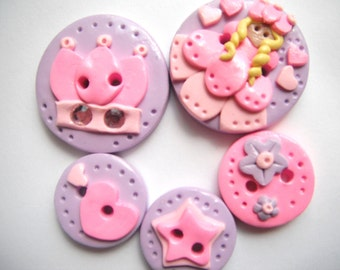 Button Little Princess   polymer clay buttons   ( 5 )