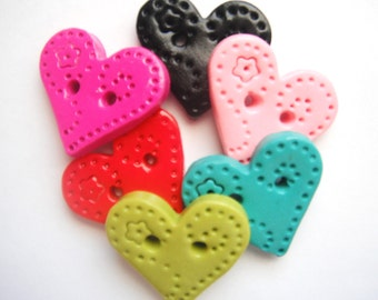 Sweet Hearts polymer clay buttons ( 5 )