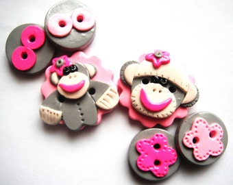 Button Girly Sock Monkey handmade polymer clay button set  ( 6 )