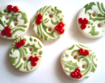 Button Stamped Holly handmade polymer clay buttons ( 5 )