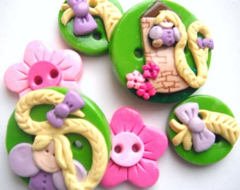 Button Rapunzel handmade polymer clay buttons ( 6 )