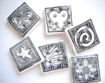Button Black and White Stamped Squares polymer clay buttons  ( 6 )
