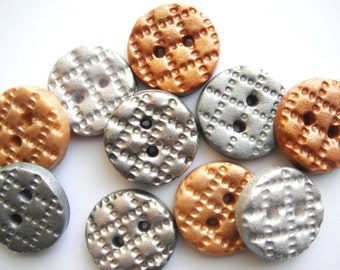 Button Metal Metalic handmade polymer clay buttons ( 10 )