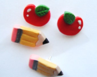 Back to School handmade polymer clay earrings 2 sets ( 4 )