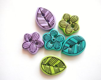 Button Retro flowers and Leaves handmade polymer clay buttons ( 6 )