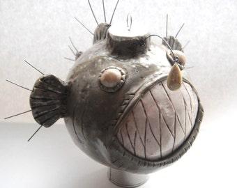 Ornament Angler Fish glass covered handmade polymer clay christmas ornament