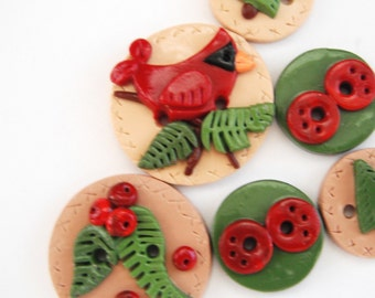 Button Cardinal  handmade polymer clay button set  ( 6 )
