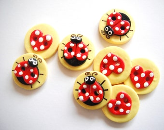 Button Ladybugs and Hearts handmade polymer clay buttons ( 8 )