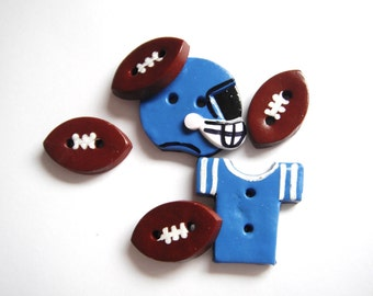Button Footballs and Helmet handmade polymer clay buttons ( 6 )