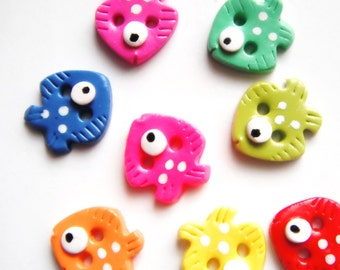 Button Teeny Fish handmade polymer clay buttons ( 8 )