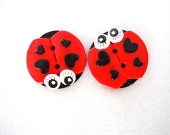 Button Twin Big Ladybugs handmade polymer clay buttons ( 2 )