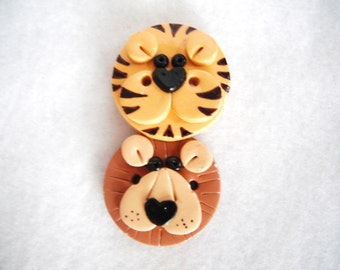 Button Lion and Tiger handmade polymer clay buttons ( 2 )